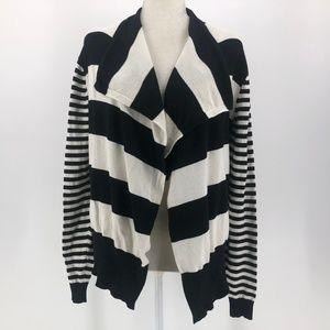 Bebe black & off-white striped knit cardigan